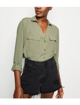 Khaki Button Up Utility Shirt by New Look