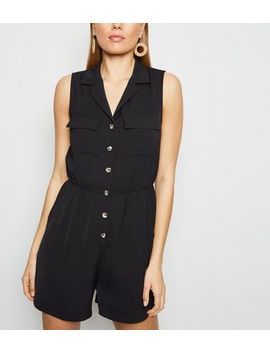 Black Herringbone Button Front Utility Playsuit by New Look