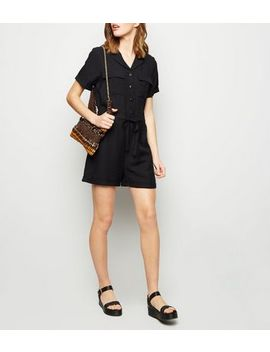 Black Revere Collar Utility Playsuit by New Look