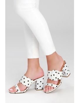Latoya White And Black Polka Dot High Heel Sandals by Lulu's