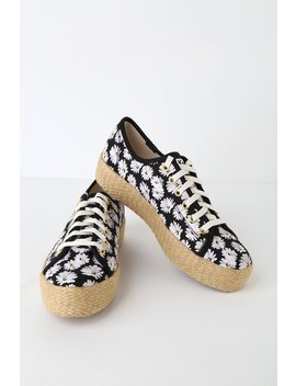 Triple Kick Daisy Black Platform Espadrille Sneakers by Keds