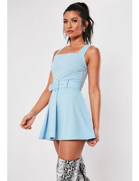 Light Blue Belted Skater Dress by Missguided