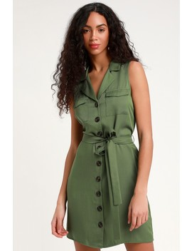 Tenino Olive Green Sleeveless Button Up Shirt Dress by Lulus