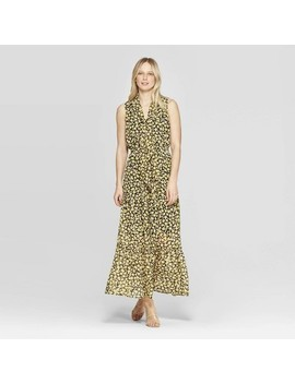 Women's Floral Print Sleeveless Collared A Line Dress   Who What Wear Yellow by Who What Wear Yellow