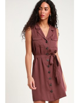 Tenino Plum Purple Sleeveless Button Up Shirt Dress by Lulus