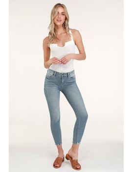 Josie Light Blue Distressed Cropped Skinny Jeans by Lulu's