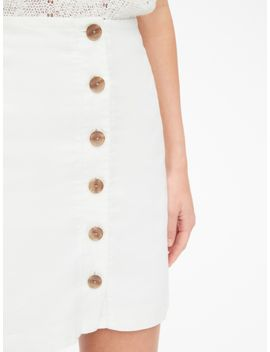Button Front Mini Skirt In Linen Cotton by Gap