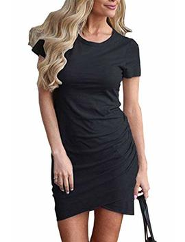 Btfbm Women's 2019 Casual Crew Neck Ruched Stretchy Bodycon T Shirt Short Mini Dress by Btfbm
