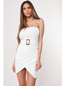 White Belted Bandeau Mini Dress by Missguided