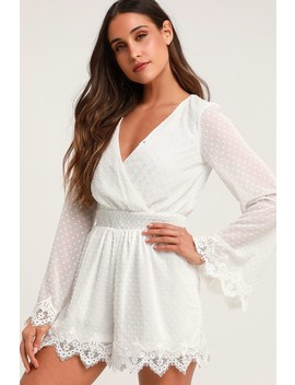 Meadowlake White Swiss Dot Lace Bell Sleeve Romper by Lulus