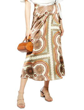 Paisley Print Satin Wrap Maxi Skirt by Topshop