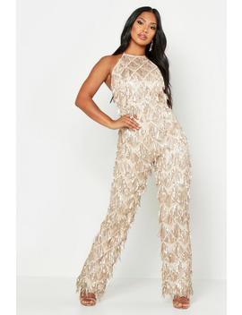 All Over Sequin Low Back Jumpsuit by Boohoo