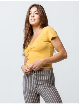 Bozzolo Cinch V Neck Mustard Womens Crop Tee by Bozzolo