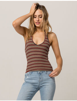 Sky And Sparrow Stripe Womens Halter Top by Sky And Sparrow