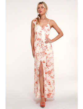 Crista Rust Orange And White Print Button Front Maxi Dress by Lulus