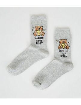 Grey Sweeter Than Honey Slogan Bear Socks by New Look