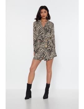 Don't Get It Twisted Zebra Shirt Dress by Nasty Gal