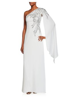 Crepe One Shoulder Gown With Draped Sleeve & Sequin Detail by Tadashi Shoji