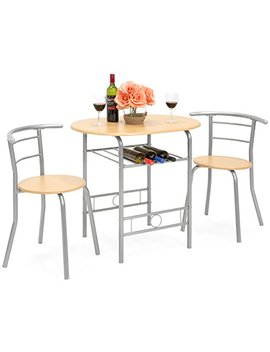 Best Choice Products 3 Piece Wooden Kitchen Dining Room Round Table And Chairs Set W/Built In Wine Rack (Natural) by Best Choice Products