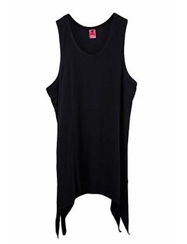 By The R Men's Solid Cotton Black Side Long Layered Casual Sleeveless Tank Top by By The R