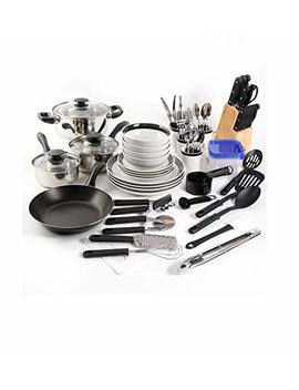 Large Kitchen Combo Set. This 83 Piece Kitshen Starter Set Has Everything You Need. Stainless Steel Cookware, Dinnerware, Flatware, Storage Containers And Gadgets For Stirring, Flipping And Chopping. by Gibson