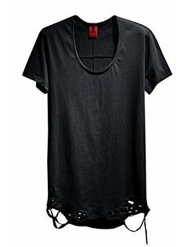 By The R Men's Vintage Grunge Cutting U Neck Custom Loose Fit Chic Black T Shirts by By The R
