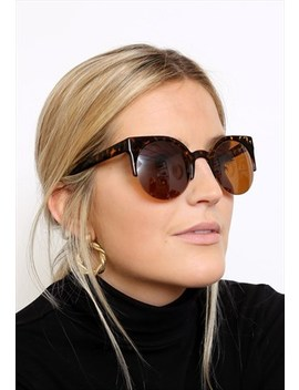 Tortoiseshell Brown Half Frame Round Sunglasses by Vintage Inclined