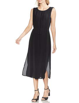 Pleated Overlay Sleeveless Dress by Vince Camuto