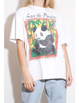 Vintage 80's Graphic Oversized T Shirt 90's Tee Panda by Bbmaude