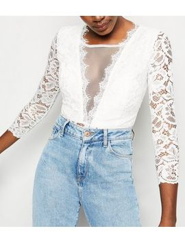 Cameo Rose White Lace Bustier Bodysuit by New Look