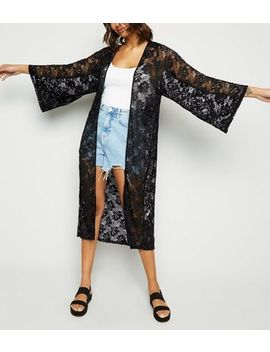 Mela Floral Lace Longline Kimono by New Look