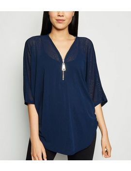 Blue Vanilla Navy Angel Wing Sequin Back Top by New Look