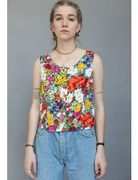 Vintage 80s Floral Patterned Buttoned Up Top Festival by Lucky Girl Vintage