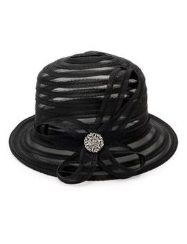 Embellished Striped Cloche Hat by Giovannio