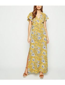 Blue Vanilla Yellow Floral Wrap Front Dress by New Look