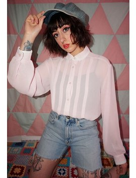 Vintage 80s Pastel Pink Pleated Shirt by Wasteland Vintage