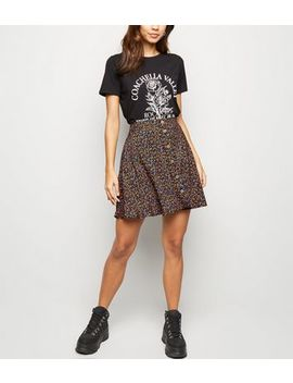 Black Ditsy Floral Button Up Mini Skirt by New Look