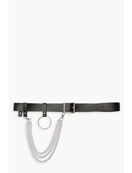 Detachable Chain & Ring Boyfriend Belt by Boohoo