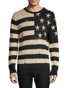 Distressed Graphic Linen Sweatshirt by Balmain