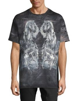 Distressed Graphic Cotton Tee by Balmain