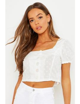 Peasant Button Through Puff Sleeve Top by Boohoo