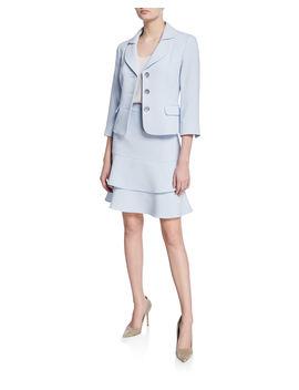 Topper Jacket & Tiered Skirt Set by Albert Nipon