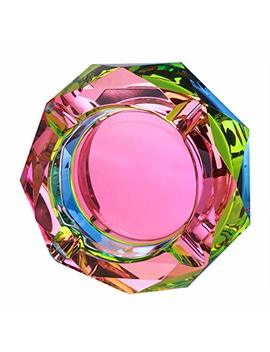Kufox Crystal Outdoors Indoors Cigarette Ashtray Ash Holder Case, Colorful Pattern Home Office Tabletop Beautiful Decoration Craft (Bling Bling 02) by Kufox