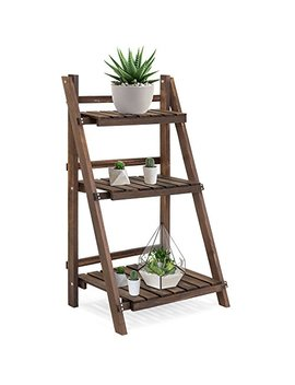 Best Choice Products 3 Tier Indoor Outdoor Portable Folding Multi Purpose Rustic Wood Flower Plant Pot Display Stand by Best Choice Products