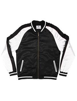 Solid Color Block Satin Baseball Varsity Bomber   Black/White by Standard Issue