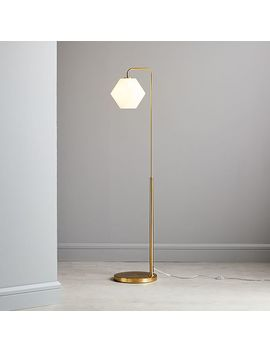 Sculptural Glass Floor, Small Faceted, Milk Shade, Brass Canopy by West Elm
