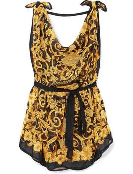 Draped Printed Silk Chiffon Dress by Versace