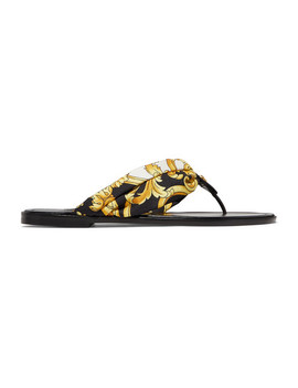 Printed Silk Twill And Leather Sandals by Versace