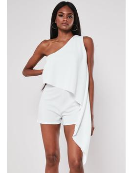 White One Shoulder Drape Romper by Missguided