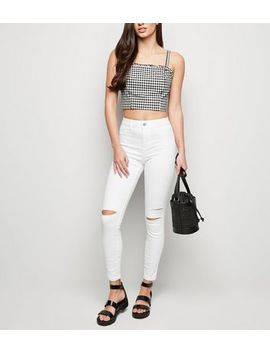 White Mid Rise Ripped Skinny Jenna Jeans by New Look